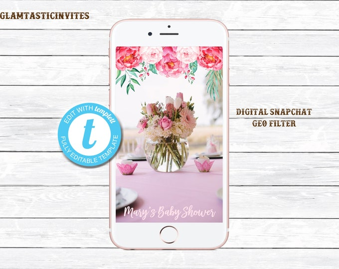 FLORAL Baby Shower Geofilter, Floral Baby Shower SnapChat, Snapchat Geofilter, Baby Shower Geofilter, Floral Shower Geofilter, Floral, Baby