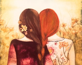 brown  and red hair sisters