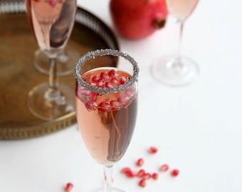 Metallic silver cocktail rimming sugar - metallic rim sugar for champagne and martinis - sparkle sugar, glitter sugar for mocktails
