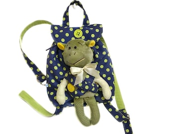 Monogramed backpack Hipster rucksack Plush turtle Small kids backpack Personalized backpack for toddler girl Polka dots backpack for girl