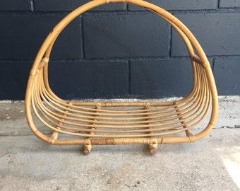 Vintage bamboo basket/magazine holder