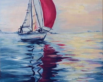 """Scarlet sail  Acrylic Seascape Painting 16x20"""" Boy's Room Decor Living room Wall Art Teen's room Interior Romantic Girl Theme Unique Gift"""