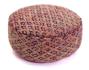 Moroccan Pouf, Floor Cushion, Berber Kilim Pouf Ottoman, Floor Pillow, Foot Stool, Refashioned from a Vintage Berber Rug. PVR021