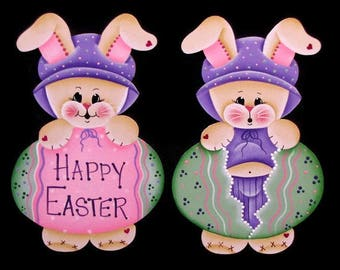 Bunny with Easter Egg Ornament or Fridge Magnet, Handpainted Wood, Hand Painted Easter Bunny Refrigerator Magnet, Tole Decorative Painting