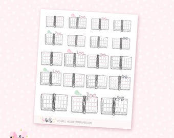 EC Girl planner stickers - 19 cute, hand-drawn planner stickers