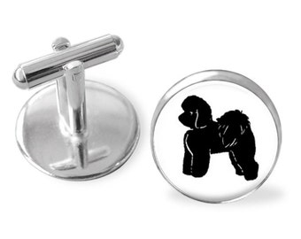 Bichon Frises Dog Breed Portrait Cuff Links or Tie Clip