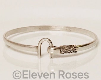 Caribbean Bracelet Company Rope Loop Hook Bangle Bracelet 925 Sterling Silver Free US Shipping