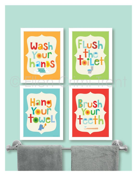 High Quality Kids Bathroom Decor Kids Bathroom Wall Art/bathroom Manners/