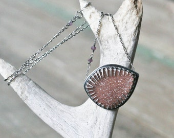 Rose Druzy Bezel Necklace, Micro Druzy Crystals, Pink Rose