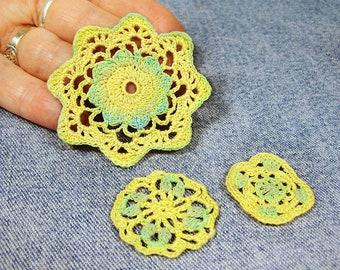 Miniature doily set, crochet dollhouse doilies, 1/12 scale handpainted crochet miniatures
