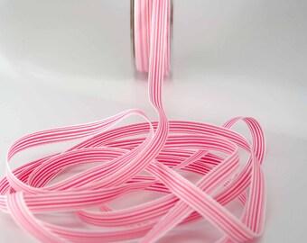 Striped Grosgrain Ribbon -- 3 / 8 inches -- Pink White Stripe
