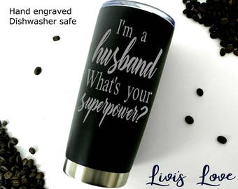 Husband Gift Boyfriend Gift Manly Coffee Mug Anniversary Gift for Husband Groom Gift what's your superpower stainless steel coffee thermos