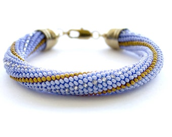 Light blue Gold Silver Bead Crochet Bracelet Seed Bead Bracelet Beadwork Jewelry Elegant For Women Handmade Beaded ropes Harness bead Gift