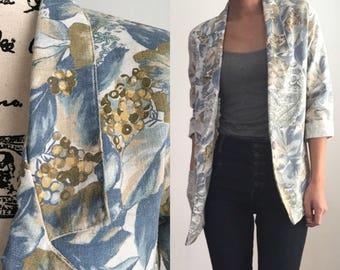 Vintage Floral Blazer, Floral Blazer, Vintage Floral Jacket, 80s Blazer, 1980s Blazer, Blue Floral Blazer