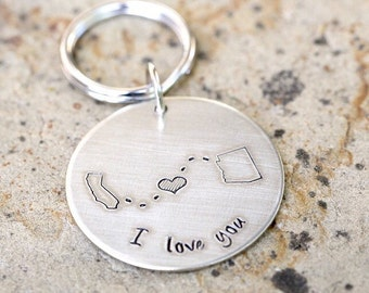 Round LDR Long Distance Relationship State Keychain - Choose Your States_#ROUNDm