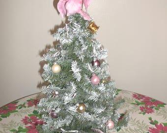 Vintage Bottle Brush Christmas Tree Decorated Shabby Cottage JUST REDUCED