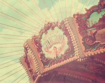 Carousel Photograph, vintage circus, nursery decor, carnival decor, nursery art, peach, shabby chic nursery, art sale,  holiday sale, fPOE