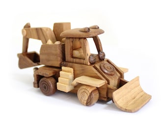 Wooden Toy Backhoe Loader in Handmade