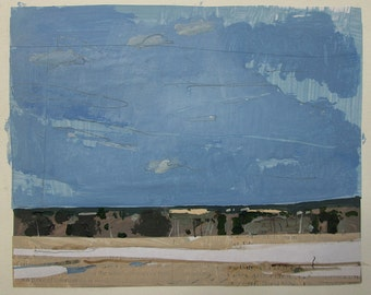April 6, Bobby's Field, Original Spring Landscape Collage Painting on Paper, Stooshinoff