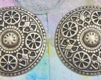 TWO Boho Brass Domes with Hole, Brass Ox, Boho Pendants, Brass Stampings Made in the USA, Findings, Boho Jewelry, Jewelry Supplies