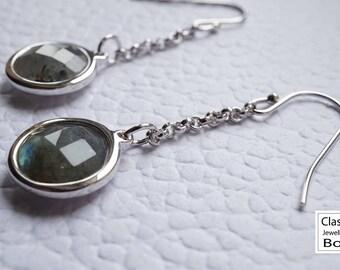 Labradorite earrings, 925 sterling silver labradorite earrings, labradorite earrings, labradorite jewelry, gift for her, gemstones