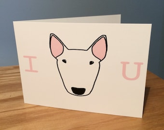 I love you english bull terrier dog cute romantic greetings card