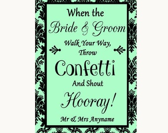 Mint Green Damask Confetti Personalised Wedding Sign