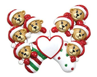 8 Bears Clinging To Stocking Personalized Christmas Ornament