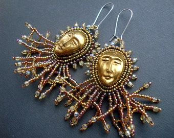 """FREE SHIPPING Bead Embroidered Earrings """"two sides of the Sun""""- bead embroidery earring"""