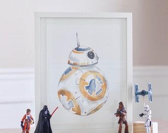 BB-8 Droid Star Wars watercolor print, printable, wall art, wall decor.