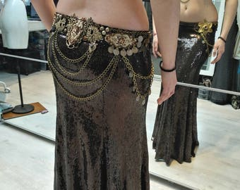 Tribal fusion brown sequin skirt