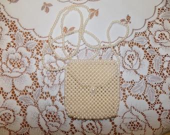 Vintage Hand Made Pearl  Like Shoulder Bag in Excellent Shape See Scans