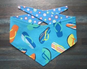 XS reversible tie on dog bandana - flip flops/blue dots Kanine Kerchief