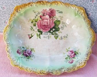 "Vintage Floral Rose Serving / Display Bowl Dish 12"" x 9.5"" x 2"""