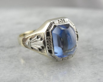 Gleaming Blue Synthetic Sapphire Art Deco Ring JWNZF2-N
