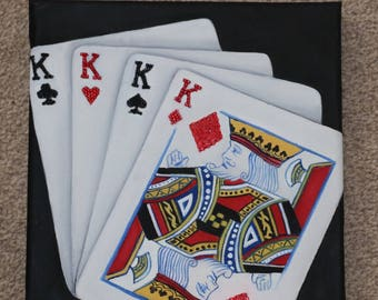 Playing cards oil on canvas