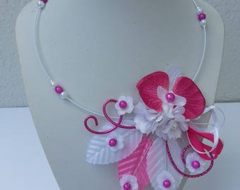 hot pink and white Orchid wedding necklace