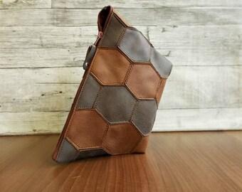 Womens Toiletry Bag, Dopp Kit, Shaving Bag, Travel Set, Distressed Vegan Leather, Patchwork, Rustic, brown cosmetic bag, Groomsman Honeycomb