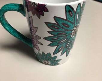 Handmade flower sharpie mug! Adorable! Can customize colors. Great gift!