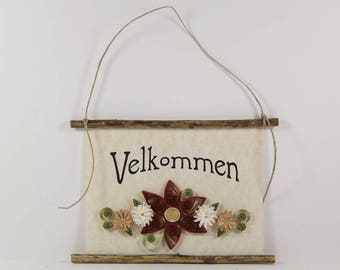 Velkommen, Danish Welcome, Paper Quilled Denmark Welcome Sign, 3D Quilled Banner, Rust Cream Tan Decor, Denmark Gift, Rustic Danish Wall Art