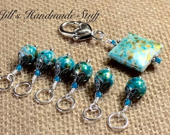 Aqua Splash Stitch Marker Set, Snag Free, Stitch Marker Holder, Knitting Gift