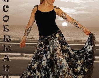 Skirt in stretch mesh, boho, Bohemian, ethnic skirt, petticoat patchwork 'Chocolate'...