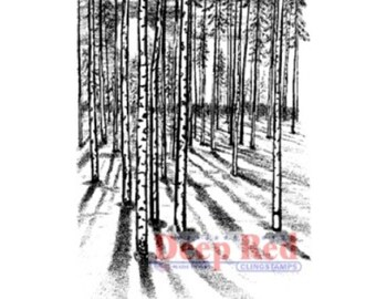 Deep Red Rubber Stamp Moonlit Forest Trees Woods Nature