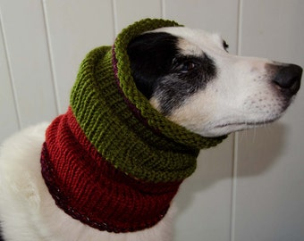 "Knit Dog Scarf/Cowl  Green and Red Size Medium -  16 Circumference with Stretch. 18"" long  Fits  up to 22"" Neck OOAK Dog Accesories"