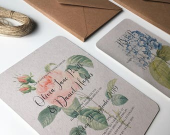 Rustic Wedding Invitations. Vintage Botanical prints on white or grey rustic card. Wedding invitation sets with RSVP cards
