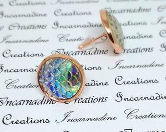 Clear iridescent mermaid dragon scale post stud earrings