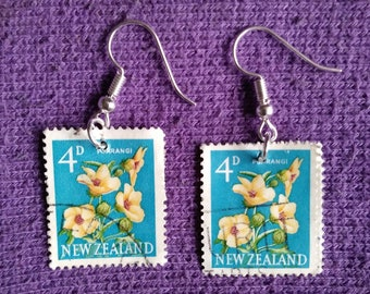 Vintage Newzealand Postage Stamp Earrings