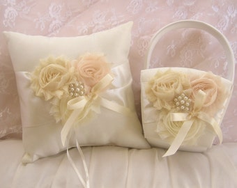 Vintage Wedding Pillow Basket - Ivory Ring Bearer Pillow, Flower Girl Basket Ring Pillow CUSTOM COLORS  too Wedding Pillow