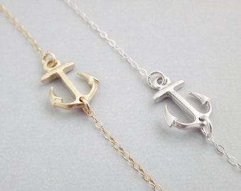 Sideways Anchor Necklace Sterling Silver