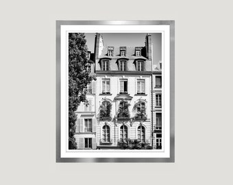 Paris Black and white print, Large wall art poster windows photography, Architectural Paris print vertical wall art 12x16 16x20, 18x24